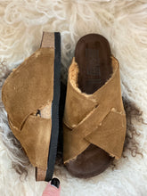 Tabacco suede fur cross over sandals