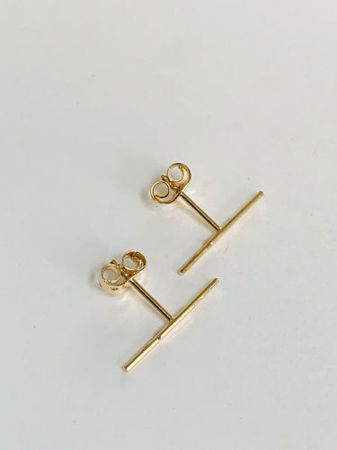 plated gold bars earrings