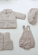 Mon bebe cream cherry quilted romper