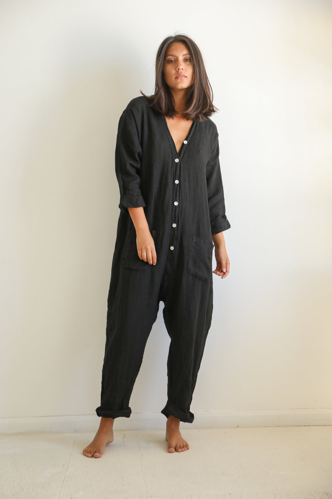 Linen black jumpsuit