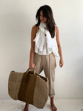 bag natural stripe ochre/camel