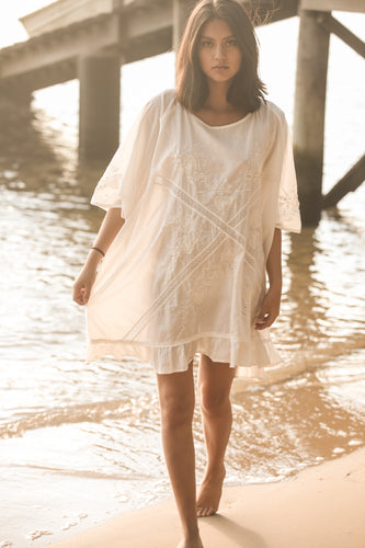 cotton white short kaftan broderie dress