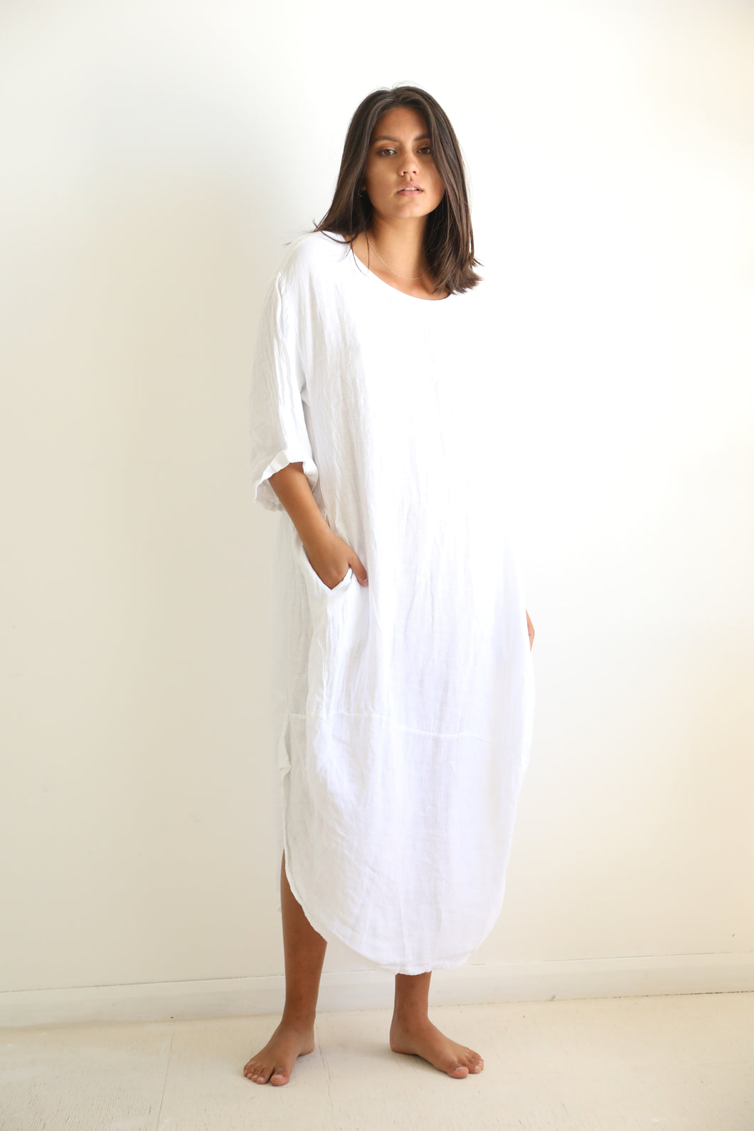 Linen white long dress