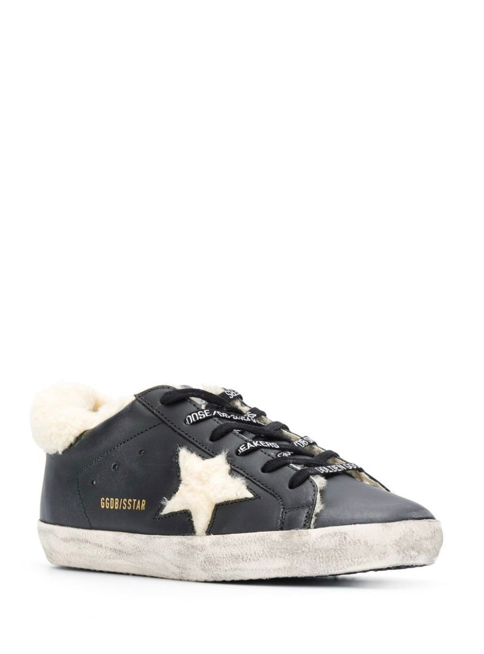 GGDB - Superstar - Black leather with shearling star
