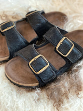 Black double buckle sandals