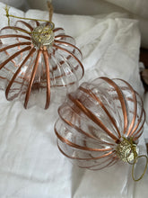 glass clear baubles with copper edge