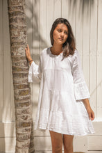 Linen/Cotton white panel short dress