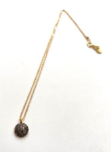 grey zirconium necklace on gold plated chain