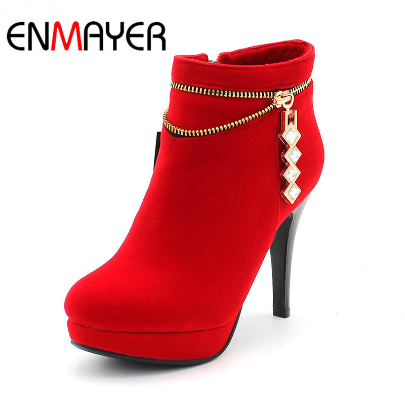 Women's Square Heels Ankle-High Solid Style Boots