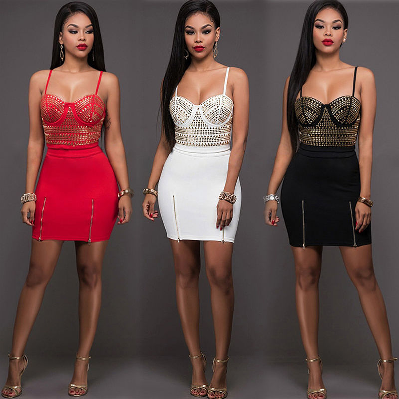 Sexy Women Summer Bandage Bodycon  Clothes Set
