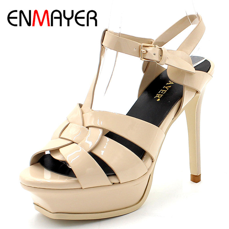 ENMAYER Quality Genuine Leather High Heel Sandals