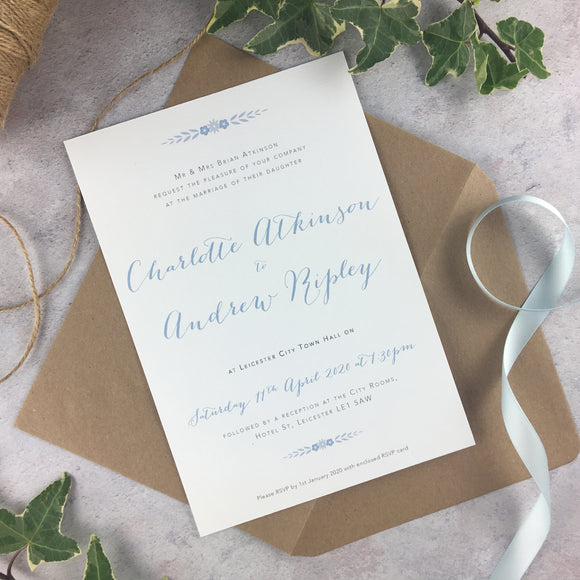 Posy Cornflower - Wedding Invitation Cards