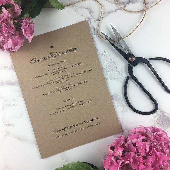 Rustic Lace - Guest Information Cards
