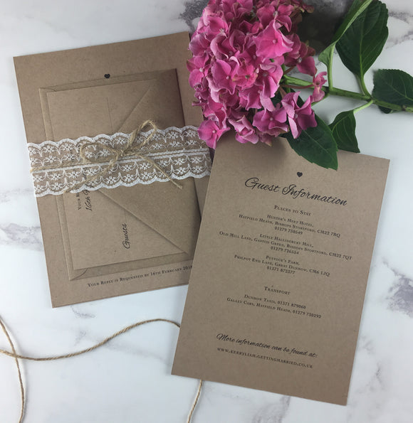 Rustic Lace - Wedding Invitation Sample