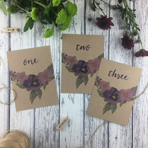 Kraft Country Garden - Wedding Table Number Cards