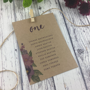 Kraft Country Garden - Wedding Table Plan Cards