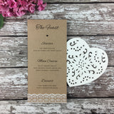 Rustic Lace - Wedding Menu Card