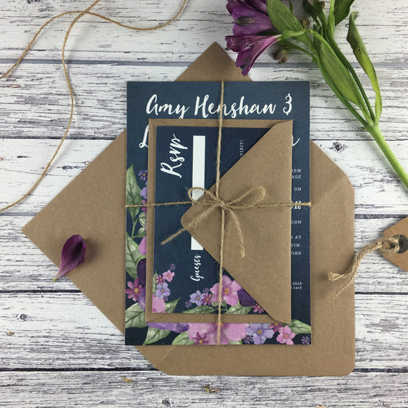 Midnight Country Garden - Wedding Invitation Sample