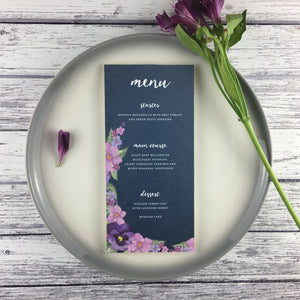 Midnight Country Garden - Wedding Menu Card