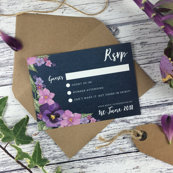Midnight Country Garden - RSVP Cards
