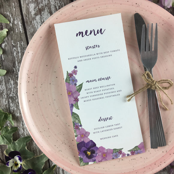 Country Garden - Wedding Menu Card