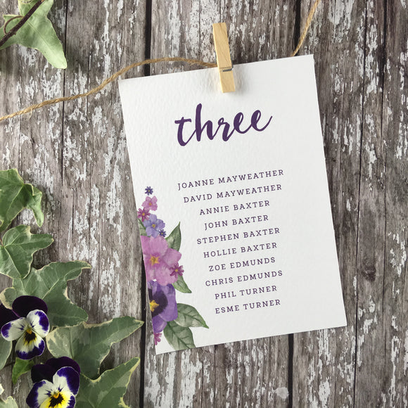 Country Garden - Wedding Table Plan Cards