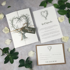 SAMPLE Rustic Heart - Premium Folded Wedding Invitation Sample