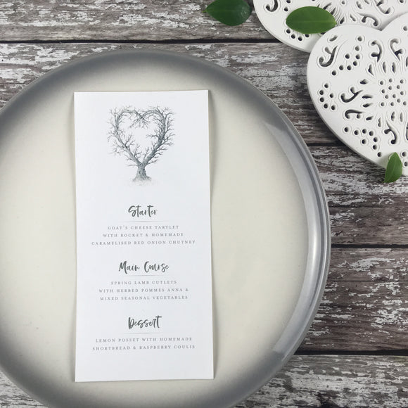 Rustic Heart - Wedding Menu Cards