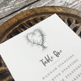 Rustic Heart - Wedding Table Plan Cards with illustration