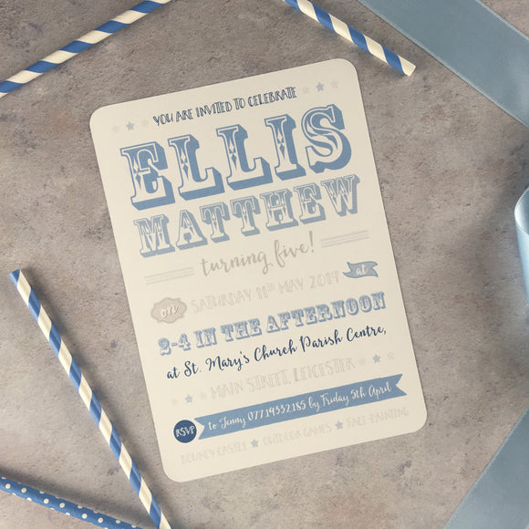 Showtime - Blue Christening Invitation, Baby Shower, Children's Birthday