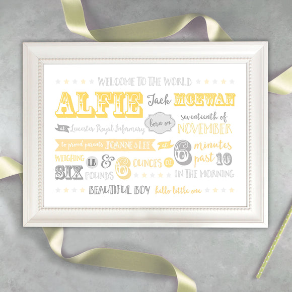 Showtime Baby Announcement Print - Yellow