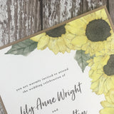 Watercolour Sunflowers - Wedding Invitation Cards