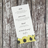 Watercolour Sunflowers - Wedding Menu Card