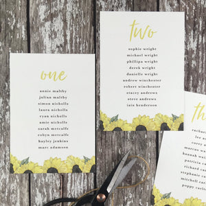 Watercolour Sunflowers - Wedding Table Plan Cards