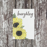 Watercolour Sunflowers - Wedding Table Name Cards
