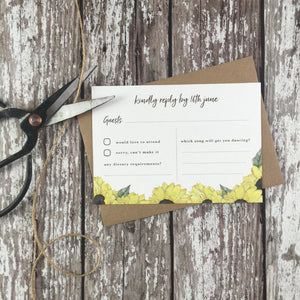 Watercolour Sunflowers - RSVP Cards