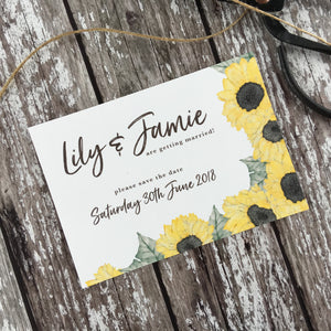 Watercolour Sunflowers - Save the Date Cards