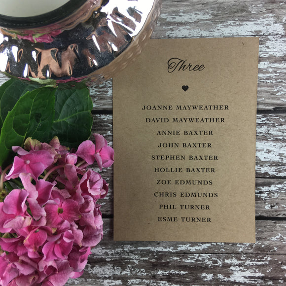 Rustic Lace - Wedding Table Plan Cards
