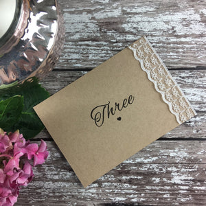 Rustic Lace - Wedding Table Number Cards