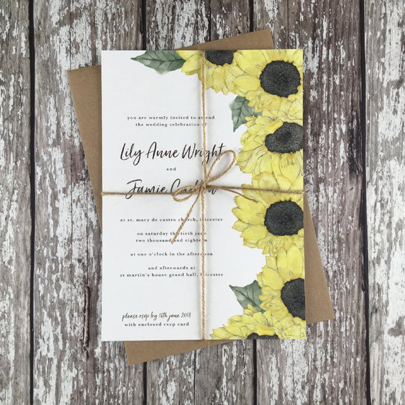 Watercolour Sunflowers - Wedding Invitation Sample