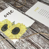 Watercolour Sunflowers - Wedding Table Number Cards