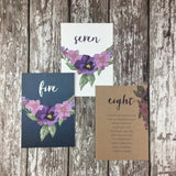 Midnight Country Garden - Wedding Table Number Cards