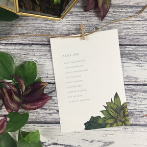 Succulents - Wedding Table Plan Cards