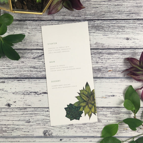 Succulents - Wedding Menu Card