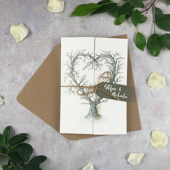 Rustic Heart - Premium Folded Wedding Invitation Cards