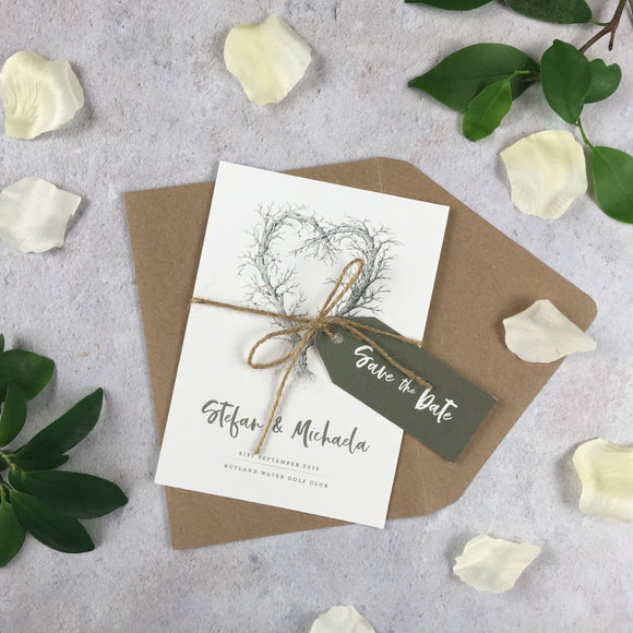 Rustic Heart - Save the Date Cards