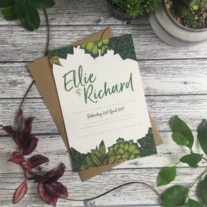 Succulents - Wedding Invitation Cards