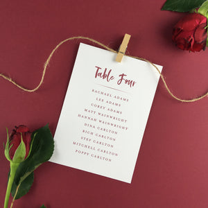 On The Day Essentials - Wine Red Table Plan Card
