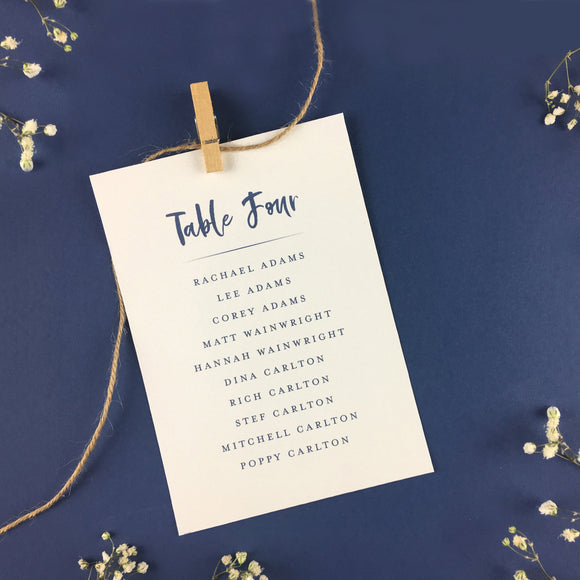 On The Day Essentials - Indigo Blue Table Plan Card