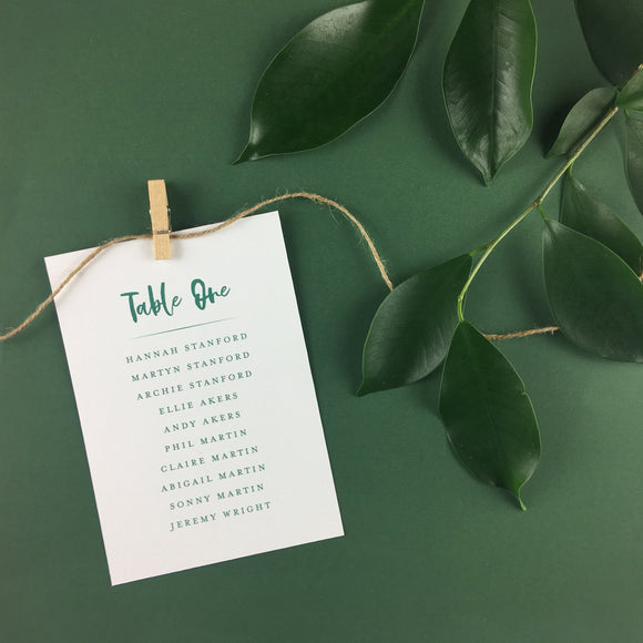 On The Day Essentials - Forest Green Table Plan Card